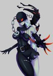 1girl belt breasts chain claws digimon grey_background highres hips ladydevimon lips long_hair mask pale_skin simple_background skull solo splashbrush thigh_gap thighs very_long_hair white_hair
