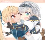 2girls bangs black_gloves blonde_hair blue_bow blush bow braid brown_gloves cheek-to-cheek circlet dark_skin elf fingerless_gloves gloves green_eyes hair_bow hololive hug long_hair looking_at_another medium_hair multiple_girls one_eye_closed open_mouth partly_fingerless_gloves pointy_ears ponytail red_eyes shiranui_flare shirogane_noel smile starblame upper_body virtual_youtuber white_hair yuri
