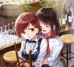 2girls bar bar_stool barrel black_hair black_neckwear bottle bow bowtie center_frills chef_uniform closed_eyes collared_shirt commentary_request counter cup double-breasted drinking_glass hair_bun hug hug_from_behind multiple_girls neckerchief open_mouth original plant red_eyes red_hair red_neckwear shirt short_hair sleeves_folded_up stool vines white_shirt wine_bottle wine_glass yukiko_(tesseract) yuri