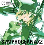 1girl akatsuki_kirika album_cover arm_up artist_request blonde_hair breasts breasts_apart cover covered_navel elbow_gloves eyebrows_visible_through_hair gloves green_eyes headgear highres holding holding_weapon leotard looking_at_viewer medium_breasts official_art scythe senki_zesshou_symphogear shiny shiny_clothes shiny_hair short_hair skin_tight skirt smile solo teeth weapon