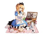 alice_(wonderland) alice_(wonderland)_(cosplay) apple baguette black_bow black_hairband blonde_hair blue_dress blue_eyes bow bread bunny carrot checkerboard_cookie checkered cookie cosplay dress food fork fruit grapes hairband jam knife napkin original picnic picnic_basket plate risem saucer sitting striped striped_legwear tea teapot thighhighs