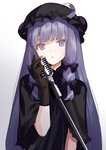 1girl alternate_costume bangs black_bow black_capelet black_gloves black_hat blunt_bangs bow capelet closed_mouth commentary_request crescent expressionless gloves gradient gradient_background hair_bow hat hat_ornament head_tilt long_hair looking_at_viewer microphone microphone_stand mob_cap patchouli_knowledge purple_eyes purple_hair sidelocks solo straight_hair touhou upper_body urata_asao very_long_hair white_background