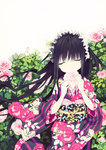 1girl black_hair closed_eyes covering_mouth flower hairband highres holding japanese_clothes kimono lolita_hairband long_hair original rugo solo wind