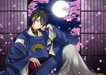 1boy black_hair blue_eyes cherry_blossoms chin_rest full_moon highres japanese_clothes male_focus mikazuki_munechika moon night petals sitting smile touken_ranbu tree yoshiwo