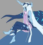 001_(darling_in_the_franxx) 1girl artist_request ass barefoot blue_eyes blue_horns blue_skin breasts darling_in_the_franxx feet full_body_tattoo highres horn horns legs light_blue_hair long_hair oni_horns solo tattoo third-party_source
