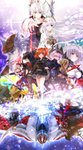 5girls 6+boys absurdres ahoge anastasia_(fate/grand_order) animal_ears antonio_salieri_(fate/grand_order) armor atalanta_(alter)_(fate) atalanta_(fate) avicebron_(fate) belt belt_pouch beowulf_(fate/grand_order) billy_the_kid_(fate/grand_order) black_armor black_footwear black_gloves black_hair black_hat black_legwear black_pants black_scrunchie black_shirt blonde_hair blue_eyes blue_kimono blurry bokeh boots breastplate breasts brown_hat buckle cabbie_hat cape capelet chain cleavage cleavage_cutout clenched_teeth closed_mouth collar collarbone collared_shirt command_spell covered_face cowboy_hat cravat cross cross-laced_footwear crown cuffs depth_of_field dual_persona dual_wielding emerald expressionless facial_scar fate/grand_order fate_(series) fighting_stance finger_on_trigger floating_hair formal fujimaru_ritsuka_(female) fur_trim gem gloves glowing gorget greaves green_eyes grey_belt grey_skirt gun hair_ornament hair_over_one_eye hair_scrunchie hairband hand_tattoo handgun harness hat highres holding holding_gun holding_sword holding_weapon horns huge_ahoge iroha_(shiki) ivan_the_terrible_(fate/grand_order) japanese_clothes jewelry kadoc_zemlupus katana kimono knee_boots leaf leaf_hair_ornament leg_lift lens_flare light_particles long_hair looking_afar looking_back loose_belt mash_kyrielight mask medium_breasts miniskirt miyamoto_musashi_(fate/grand_order) multiple_boys multiple_girls muscle neck_ring one_leg_raised one_side_up open_mouth orange_hair ortenaus outstretched_arm outstretched_arms over_shoulder pants parted_lips patxi pauldrons pinstripe_pattern pinstripe_suit pistol ponytail popped_collar pouch purple_eyes red_cape red_eyes red_neckwear red_scarf ring scar scar_across_eye scarf scrunchie serious shield shirt shirtless short_hair shoulder_tattoo sidelocks silver_hair skirt smile standing straight_hair striped suit surprised sword tattoo teeth thighhighs torn_clothes torn_scarf upside-down very_long_hair vr_visor weapon western wolf wolfgang_amadeu