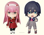 1boy 1girl bangs black_hair black_legwear blue_eyes boots brown_footwear chibi commentary_request couple darling_in_the_franxx figure green_eyes grey_legwear hair_ornament hairband hand_on_hip hand_up hetero hiro_(darling_in_the_franxx) horns long_hair long_sleeves looking_at_viewer military military_uniform necktie oni_horns orange_neckwear pantyhose pink_hair red_horns red_neckwear shoes short_hair signature socks toma_(norishio) uniform white_footwear white_hairband zero_two_(darling_in_the_franxx)