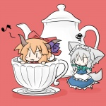 2girls :3 animal_ears annoyed bow chibi cup dog-suika dog_ears dog_tail hair_bow horns ibuki_suika in_container in_cup inu_sakuya izayoi_sakuya kemonomimi_mode maid_headdress minigirl multiple_girls musical_note ribbon tail teacup teapot touhou yanagi_(nurikoboshi) |_|