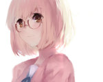 1girl bob_cut brown_eyes cardigan glasses kuriyama_mirai kyoukai_no_kanata looking_at_viewer red-framed_glasses school_uniform short_hair sketch solo teario