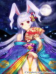 1girl animal_ears bunny_ears detached_sleeves fan folding_fan full_moon hair_ornament head_tilt highres holding japanese_clothes kimono long_hair looking_at_viewer moon navel official_art priget_plus red_eyes silver_hair solo yusano