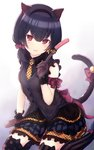 1girl animal_ears arm_ribbon asymmetrical_legwear bangs black_legwear black_vest blue_hair blue_skirt blush bow buttons cat_ears cat_tail cat_teaser commentary cotrpopor eyebrows_visible_through_hair feet_out_of_frame gradient gradient_background hair_between_eyes hair_bow hairband hand_on_floor highres holding_toy idolmaster idolmaster_shiny_colors kemonomimi_mode layered_skirt looking_at_viewer morino_rinze open_mouth orange_neckwear polka_dot polka_dot_legwear polka_dot_neckwear red_bow red_eyes ribbon seiza short_hair simple_background sitting skirt sleeveless smile solo striped striped_legwear tail thighhighs thighs vertical-striped_legwear vertical_stripes vest zettai_ryouiki