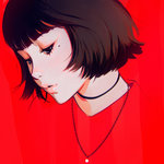 1girl black_hair choker ilya_kuvshinov jewelry lips mole mole_under_eye necklace original parted_lips red_background red_shirt shirt short_hair simple_background solo