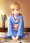 ahoge artoria_pendragon_(all) excalibur fate/stay_night fate_(series) flower green_eyes indoors japanese_clothes kashi_kosugi kimono kneeling looking_at_viewer obi saber sash smile sword weapon wide_sleeves