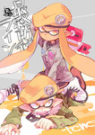 1boy 1girl arm_behind_head army-kun_(splatoon) bangs beret bike_shorts black_neckwear black_shirt black_shorts blunt_bangs commentary_request cross-laced_footwear domino_mask emblem facepaint fang forge-chan_(splatoon) green_coat grey_coat hat long_hair looking_at_viewer lying mask necktie on_stomach open_mouth orange_eyes orange_hair orange_hat pointy_ears rapid_blaster_(splatoon) rating red_footwear serizawa_nae shirt shoes shorts single_vertical_stripe sitting sitting_on_person splatoon splatoon_(manga) straddling tentacle_hair translation_request white_footwear wing_collar