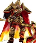 1boy armor beard black_armor cape clenched_teeth facial_hair feathers fire fire_emblem fire_emblem_heroes gauntlets glowing glowing_eye greaves helmet highres holding holding_weapon horned_helmet maeshima_shigeki male_focus molten_rock official_art orange_hair red_cape red_eyes scar scar_across_eye scythe short_hair shoulder_armor solo standing surtr_(fire_emblem_heroes) teeth transparent_background weapon