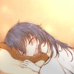 1girl :d akatsuki_(kantai_collection) black_hair blanket blush closed_eyes commentary_request eyebrows_visible_through_hair hair_between_eyes kantai_collection long_hair lying on_side open_mouth orange_background pillow sleeping smile solo sorahachi_(sora823) under_covers