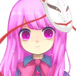 1girl :t asymmetrical_bangs bangs bow bowtie buttons closed_mouth collared_shirt commentary expressionless eyebrows_visible_through_hair eyelashes face fox_mask hata_no_kokoro kani_(cpj2) long_hair looking_at_viewer mask mask_on_head parted_bangs pink_neckwear plaid plaid_shirt portrait pout purple_eyes purple_hair shirt short_eyebrows simple_background solo star strap swept_bangs touhou white_background