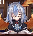 1girl blue_hair book brown_eyes commentary glasses grey_hair highres horns indoors juliet_sleeves long_sleeves looking_at_viewer multicolored_hair namatyaba open_book puffy_sleeves reading solo tokiko_(touhou) touhou two-tone_hair wings