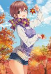 1girl :d ahoge arm_up autumn autumn_leaves blue_sky blurry blurry_background blush brown_eyes brown_hair cloud cowboy_shot day denim denim_shorts depth_of_field from_side futaba_tae hair_between_eyes highres holding holding_leaf leaf long_sleeves looking_at_viewer looking_to_the_side masamune-kun_no_revenge multicolored multicolored_clothes multicolored_scarf open_mouth outdoors print_scarf print_sweater scan scarf short_hair short_shorts shorts sky sleeves_past_wrists smile solo sweater thighs tiv tree