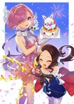2girls animal anniversary bangs bare_shoulders black_gloves black_hair blue_bow bow breasts cake character_request citron_82 closed_eyes collarbone commentary dress elbow_gloves fate/grand_order fate_(series) feet_out_of_frame food fou_(fate/grand_order) fruit gloves hair_over_one_eye happy highres holding leonardo_da_vinci_(fate/grand_order) long_hair mash_kyrielight medium_breasts multiple_girls parted_bangs pink_eyes pink_hair purple_eyes short_hair sleeveless sleeveless_dress strawberry white_bow white_gloves white_legwear