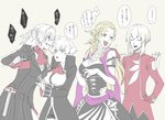 1boy 3girls antonio_salieri_(fate/grand_order) black_coat black_dress black_shorts black_suit blonde_hair blue_eyes breasts charles_henri_sanson_(fate/grand_order) cleavage closed_eyes cravat cropped_legs curly_hair dagger detached_collar dress elbow_gloves fate/grand_order fate_(series) formal genderswap genderswap_(ftm) genderswap_(mtf) gloves grey_background hair_between_eyes hair_pulled_back high_collar jacket large_breasts long_hair long_sleeves marie_antoinette_(fate/grand_order) medium_breasts mocollie multiple_girls pinstripe_suit purple_sash purple_scarf red_eyes red_jacket red_scarf scarf shirt short_hair short_ponytail short_shorts shorts side_slit sidelocks simple_background skirt skirt_suit smile striped suit sweatdrop translation_request upper_body very_long_hair waist_sash weapon white_gloves white_hair white_shirt wolfgang_amadeus_mozart_(fate/grand_order)