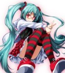 1girl absurdres black_shirt blue_hair blue_nails blush glasses hatsune_miku highres jacket long_hair nail_polish open_clothes open_jacket project_diva_(series) red_eyes shirt smile striped striped_legwear thighhighs tsukishiro_saika twintails v vocaloid