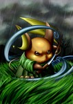 absurdres brown_eyes cafe_(chuu_no_ouchi) cloud grass highres japanese_clothes katana kimono mountain no_humans pokemon pokemon_(creature) raichu rain samurai scabbard sheath sword tail tree weapon