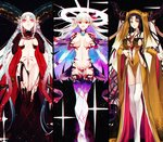 +_+ 3girls absurdres albino_(a1b1n0623) aqua_hair armor bangs bikini_armor black_background black_gloves black_hair braid breasts center_opening chain cleavage closed_eyes closed_mouth crossed_bangs curled_horns dress earrings facial_mark fate/grand_order fate_(series) flower forehead_mark gloves hair_between_eyes hair_ribbon halo hands_on_own_chest highres horn_ornament horn_ring horns huge_filesize jewelry kama_(fate/grand_order) large_breasts long_hair long_horns looking_at_viewer lotus multicolored_hair multiple_girls navel open_mouth parted_bangs pelvic_curtain pink_eyes pink_hair pink_ribbon pointy_ears red_eyes ribbon sesshouin_kiara sideboob silver_hair smile sparkle star_(sky) stomach_tattoo striped striped_gloves symbol-shaped_pupils tattoo thighhighs thighs tiamat_(fate/grand_order) twin_braids two-tone_hair veil vertical-striped_gloves very_long_hair white_hair wide_sleeves yellow_dress yellow_eyes