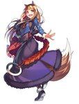 1girl :d animal_ears apple bangs black_footwear blue_shirt blunt_bangs brown_eyes brown_hair floating_hair food fruit full_body fur_trim holding holding_food holding_fruit holo leg_up long_hair long_skirt long_sleeves open_mouth pouch purple_skirt selenoring shirt skirt smile solo spice_and_wolf standing standing_on_one_leg tail very_long_hair wolf_ears wolf_tail