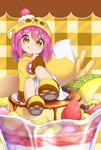 1girl :p animal_ears bird blueberry blush brown_eyes cherry dress fake_animal_ears food food_on_face fox_hat fox_tail fruit highres hood in_food kiwi long_hair looking_at_viewer melon nipeira orange original oversized_object paw_shoes pudding purple_hair shoes smile solo strawberry tail tongue tongue_out yuzuwa-chan