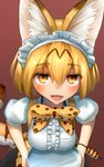 1girl :d adapted_costume alternate_costume animal_ears blonde_hair bow breasts breasts_on_tray center_frills commentary_request enmaided eyebrows_visible_through_hair eyes_visible_through_hair hair_between_eyes highres kemono_friends looking_at_viewer maid maid_headdress medium_breasts open_mouth orange_eyes print_bow puffy_short_sleeves puffy_sleeves serval_(kemono_friends) serval_ears serval_print serval_tail short_hair short_sleeves signature simple_background smile solo tail tray welt_(kinsei_koutenkyoku)