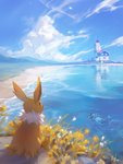 2others artist_name backstroke beach blue_sky closed_eyes cloud commentary ein_lee english_commentary flower gen_1_pokemon grass hill jolteon landscape lighthouse multiple_others no_humans ocean pokemon pokemon_(creature) reflection ripples scenery sitting sky swimming tail vaporeon water