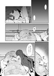 2girls blanket bracelet comic commentary greyscale hasebe_yuusaku highres hinanawi_tenshi hug jewelry long_hair lying monochrome multiple_girls on_side tatami touhou translated under_covers very_long_hair yorigami_shion