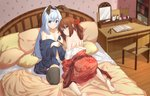 2girls animal_ears bangs barefoot bed bed_sheet black_legwear blue_eyes blue_kimono brown_hair bunny_ears chair deatheach desk eyebrows_visible_through_hair fake_animal_ears flower full_body hair_between_eyes hair_flower hair_ornament hair_rings hairband japanese_clothes kimono kneeling light_blue_hair long_hair looking_at_viewer looking_back multiple_girls off_shoulder on_bed original panties pillow red_flower red_kimono smile thighhighs topless twintails underwear undressing very_long_hair white_panties yellow_eyes
