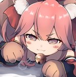 1girl :3 absurdres animal_ears bangs bare_shoulders bell blush_stickers bow brown_eyes chibi closed_mouth commentary detached_sleeves dyson_(edaokunnsaikouya) eyebrows_visible_through_hair fang fang_out fate/grand_order fate_(series) fox_ears fox_tail gloves hair_between_eyes hair_bow heart heart-shaped_pupils highres jingle_bell long_hair long_sleeves looking_at_viewer lying on_stomach paw_gloves paws pink_hair red_bow solo symbol-shaped_pupils tail tamamo_(fate)_(all) tamamo_cat_(fate) v-shaped_eyebrows wide_sleeves
