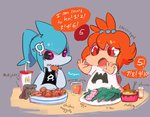 2girls black_sclera blue_hair brand_name_imitation cameo camerupt child english exeggcute magikarp maxie mcdonald's monster_girl multiple_girls orange_hair personification pokemon pokemon_(game) pokemon_oras pudding purple_eyes red_eyes sharp_teeth sharpedo slowpoke tentacool topknot