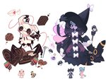 alcremie black_eyes bug candy charamells chocolate chocolate_heart closed_eyes creature food full_body fusion gen_2_pokemon gen_5_pokemon gen_7_pokemon gen_8_pokemon gothitelle hat hatterene heart mimikyu multiple_fusions no_humans pokemon pokemon_(creature) purple_eyes simple_background sleeping spider umbreon white_background witch_hat