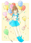 1girl :d arle_nadja bad_id balloon blue_shoes blue_skirt blush brown_hair closed_eyes full_body gift half_updo happy_birthday heart_balloon lirio_(nikori9) open_mouth puyopuyo shoes short_hair short_sleeves skirt smile striped
