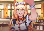 1girl ;d animal_ear_fluff animal_ears bakery blonde_hair blurry blurry_background bow bowtie cat_ears character_name commission depth_of_field dialogue_box english fake_screenshot fangs frills gameplay_mechanics green_eyes grin hair_between_eyes hand_up indoors less lips lipstick long_hair looking_at_viewer maid maid_headdress makeup maple_(sayori) nekopara one_eye_closed open_mouth orange_neckwear petting pov puffy_short_sleeves puffy_sleeves red_lipstick ringed_eyes shop short_sleeves signature smile solo subtitled teeth underbust upper_body visual_novel wrist_cuffs