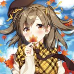 1girl autumn_leaves bangs beret blue_sky blush brown_eyes brown_hair brown_hat cardigan closed_mouth cloud cloudy_sky commentary_request day dress_shirt eyebrows_visible_through_hair hair_between_eyes hair_ribbon hat head_tilt holding holding_leaf leaf looking_at_viewer lowres maple_leaf masuishi_kinoto necktie off_shoulder open_cardigan open_clothes original outdoors plaid plaid_shirt ribbon shirt sky smile solo two_side_up white_cardigan yellow_ribbon yellow_shirt