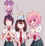 3girls :> :d ashido_mina asui_tsuyu black_hair black_sclera blush_stickers boku_no_hero_academia crossover elekid froakie gen_2_pokemon gen_3_pokemon gen_6_pokemon green_skirt highres jirou_kyouka long_hair looking_down looking_up multiple_girls necktie noibat open_mouth orange_eyes pink_hair pokemon pokemon_(creature) pokemon_(game) red_eyes sally_(luna-arts) sanpaku school_uniform short_hair skirt skitty smile u.a._school_uniform yellow_eyes zzz