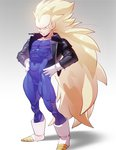 1boy absurdres blonde_hair blue_eyes bodysuit boots covered_navel dragon_ball dragon_ball_z full_body gloves gradient gradient_background hands_on_hips highres leather_jacket long_hair looking_away male muscle no_eyebrows simple_background skin_tight smile solo spandex spiked_hair standing super_saiyan supobi vegeta very_long_hair white_boots white_gloves zipper