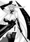 1girl absurdres bare_shoulders breasts cleavage commentary_request doctor_masube dress elbow_gloves gloves hair_over_one_eye hat highres huge_breasts long_hair looking_at_viewer lucretia_(doctor_masube) original solo strapless strapless_dress sun_hat very_long_hair