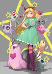 1girl ;d blonde_hair blue_eyes boots devil_horns dress flying frostcyco green_dress hairband heart heart_cheeks horn long_hair monster octopus one_eye_closed open_mouth pantyhose smile snail standing star star-shaped_pupils star_butterfly star_vs_the_forces_of_evil striped striped_legwear symbol-shaped_pupils w wand