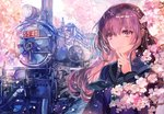 1girl absurdres blue_jacket character_request check_copyright cherry_blossoms chuuousen_ensen_shoujo commentary_request copyright_request eyebrows_visible_through_hair face ground_vehicle hair_between_eyes highres jacket long_hair long_sleeves looking_at_viewer number official_art outdoors pink_eyes purple_hair rioka_(southern_blue_sky) school_uniform smile solo train train_station tree upper_body