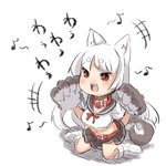 +++ 1girl :d animal_ears azur_lane belt belt_buckle belt_collar blush breasts brown_sailor_collar brown_skirt buckle cleavage collar commentary_request crop_top eighth_note gloves hands_up long_hair loose_socks midriff musical_note navel no_shoes open_mouth paw_gloves paws pleated_skirt red_belt red_collar red_eyes sailor_collar school_uniform serafuku shadow sharp_teeth shirt short_eyebrows sitting skirt smile solo tail teeth thick_eyebrows translation_request u-non_(annon'an) underboob v-shaped_eyebrows very_long_hair wariza white_background white_hair white_legwear white_shirt wolf_ears wolf_girl wolf_tail yuudachi_(azur_lane)