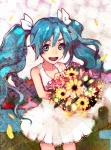 1girl :d aqua_eyes aqua_hair bare_shoulders blue_eyes blue_hair bouquet eyebrows flower hatsune_miku highres long_hair looking_at_viewer madokan_suzuki multicolored multicolored_eyes open_mouth petals skirt smile solo twintails vocaloid white_skirt