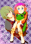 1boy 1girl aquarion_(series) aquarion_evol blonde_hair blue_eyes carrying coat couple doll dress gloves gradient_hair hachigou hair_ornament hetero jin_musou multicolored_hair orange_hair princess_carry purple_hair stuffed_animal stuffed_frog stuffed_toy tama_(aquarion) yunoha_thrul