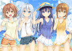 4girls :d :o akatsuki_(kantai_collection) anchor bangs bare_arms beach belt belt_buckle blue_eyes blue_sky blush bow breasts brown_eyes brown_hair buckle casual cloud cloudy_sky collarbone commentary_request contrapposto cowboy_shot day dress dress_lift eyebrows_visible_through_hair fang folded_ponytail hair_between_eyes hair_ornament hairclip hat hat_bow hibiki_(kantai_collection) horizon ikazuchi_(kantai_collection) inazuma_(kantai_collection) kantai_collection layered_skirt lifted_by_self lineup long_hair mikoillust multiple_girls ocean open_mouth outdoors polka_dot polka_dot_bow purple_eyes purple_hair see-through shore shorts silver_hair skirt sky sleeveless sleeveless_dress small_breasts smile sun_hat