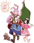2girls ;d alternate_costume alternate_hairstyle animal_ears bandana bandolier barefoot black_hair blouse boots braid bunny bunny_ears carrot carrot_necklace commentary_request extra_ears eyebrows_visible_through_hair flag flagpole floral_print frills grin gun hair_between_eyes hat highres inaba_tewi jewelry layered_skirt long_hair mefomefo mexican_flag mexico multiple_girls necklace one_eye_closed open_mouth puffy_short_sleeves puffy_sleeves purple_hair red_eyes reisen_udongein_inaba rifle sash short_hair short_sleeves simple_background skirt smile sombrero spanish_commentary touhou very_long_hair weapon white_background